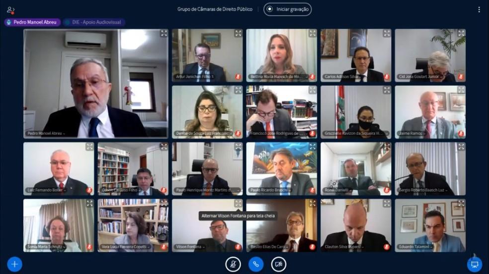 Desembargadores que julgaram a legalidade da equiparação salarial dos procuradores de SC; em destaque (E), o relator Pedro Manoel  — Foto: TJSC/Reprodução