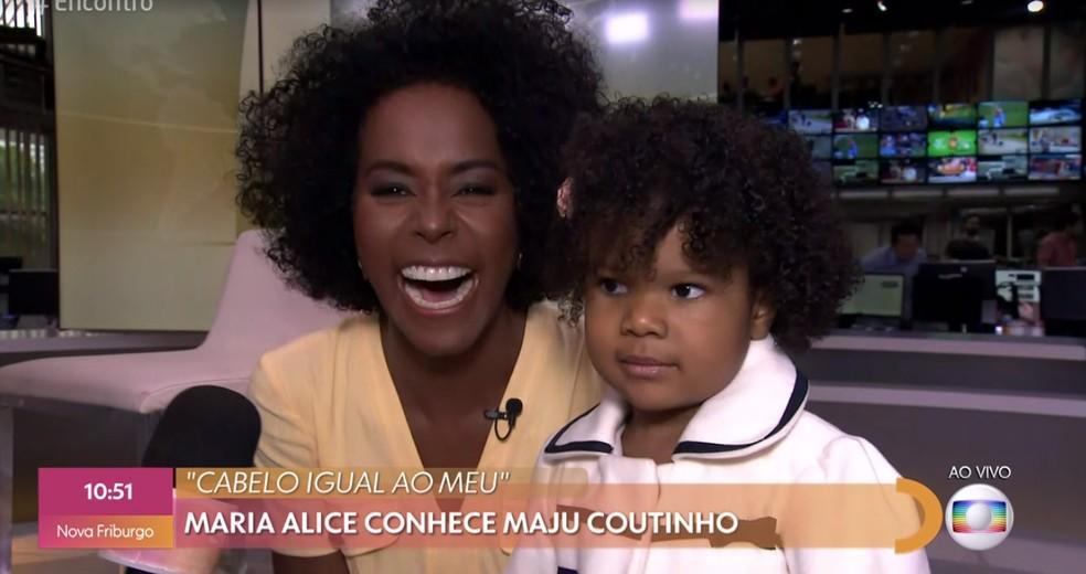 Maria Alice conhece Maju Coutinho — Foto: TV Globo