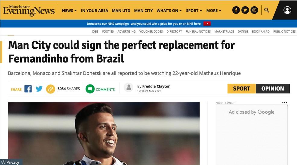 Matheus Henrique é apontado como substituto perfeito para Fernandinho — Foto: Reprodução