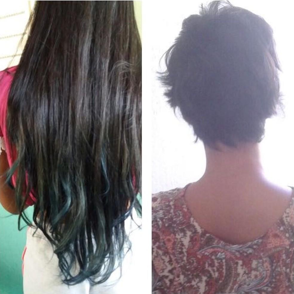 Adolescente teve o cabelo cortado pelas agressoras (Foto: Arquivo Pessoal)
