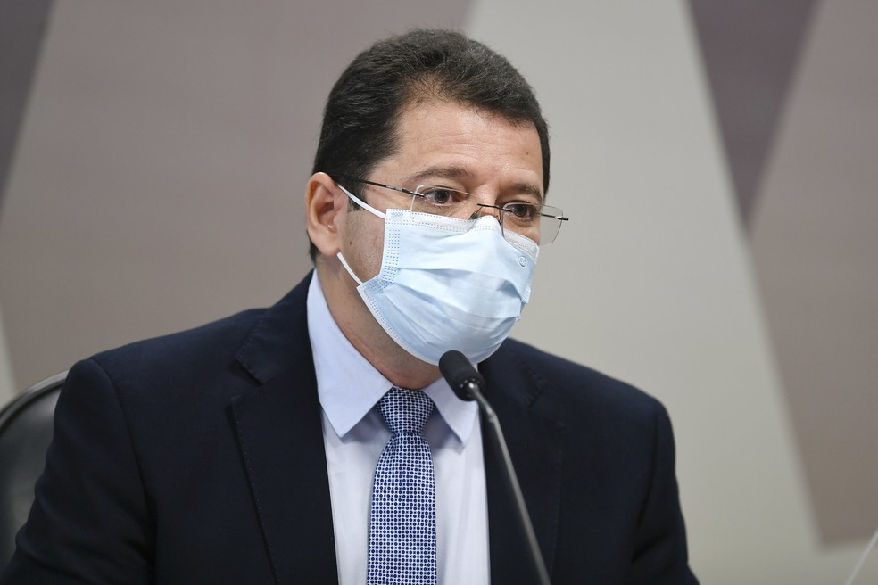 Marcellus Campêlo durante depoimento para CPI da Covid — Foto: Edilson Rodrigues/Agência Senado
