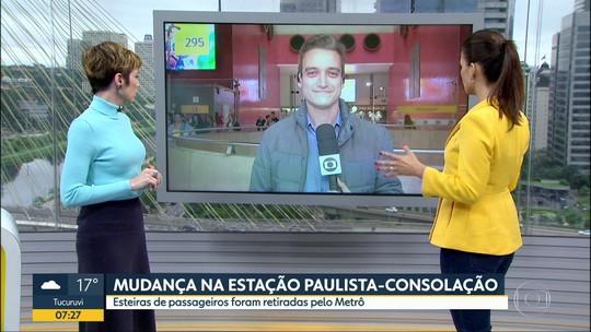 Metrô de SP vai retirar esteiras rolantes entre as estações Consolação e Paulista