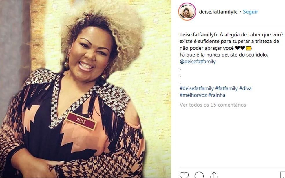 Deise Cipriano, em foto publicada em sua conta no Instagram — Foto: Reprodução/Redes sociais