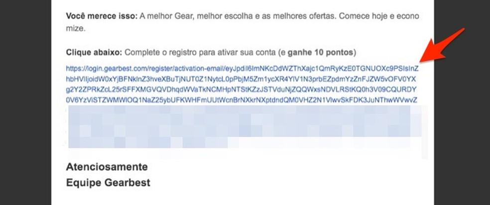 Ação para confirmar a criação de uma conta no site de compras Gearbest â?? Foto: Reprodução/Marvin Costa