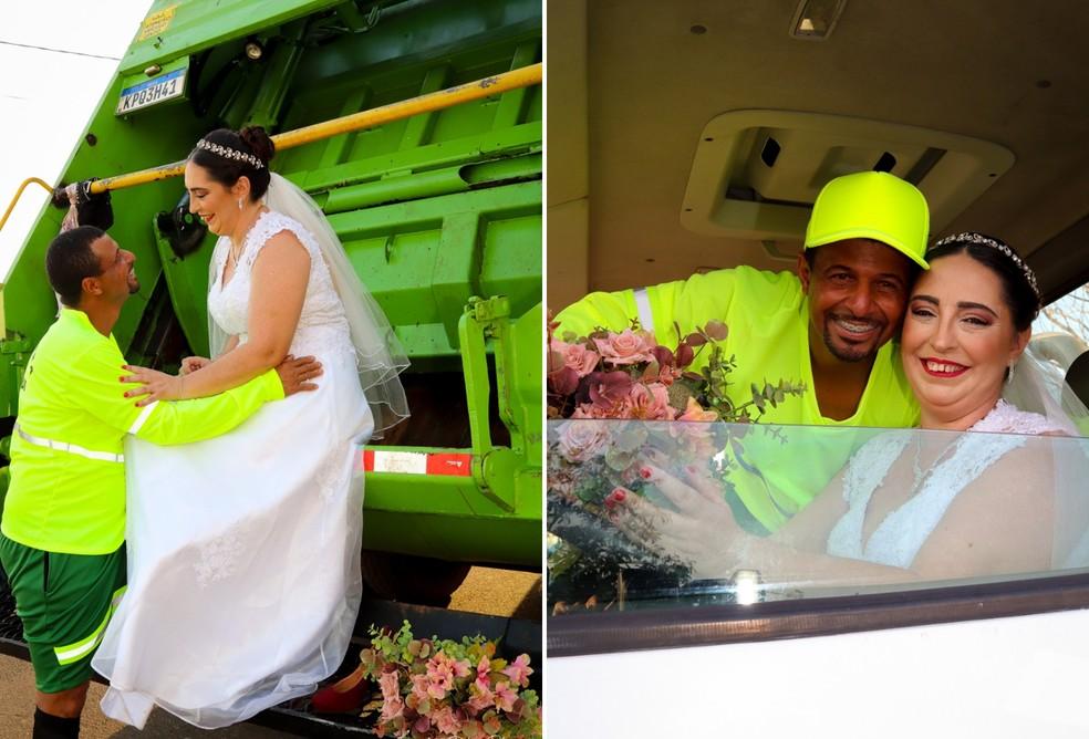 Casal faz ensaio fotográfico de casamento em homenagem ao noivo coletor de lixo em Birigui (SP) — Foto: Lunardo e Roberta Pulzatto Fotografia/Divulgação
