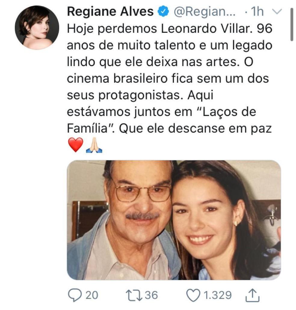 Regiane Alves postou uma lembrança com o colega nos bastidores de 'Laços de Família' — Foto: Reprodução/Twitter