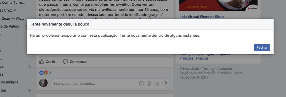 Facebook alerta sobre problemas na plataforma no PC e no celular (Foto: Reprodução/ Melissa Cruz Cossetti)