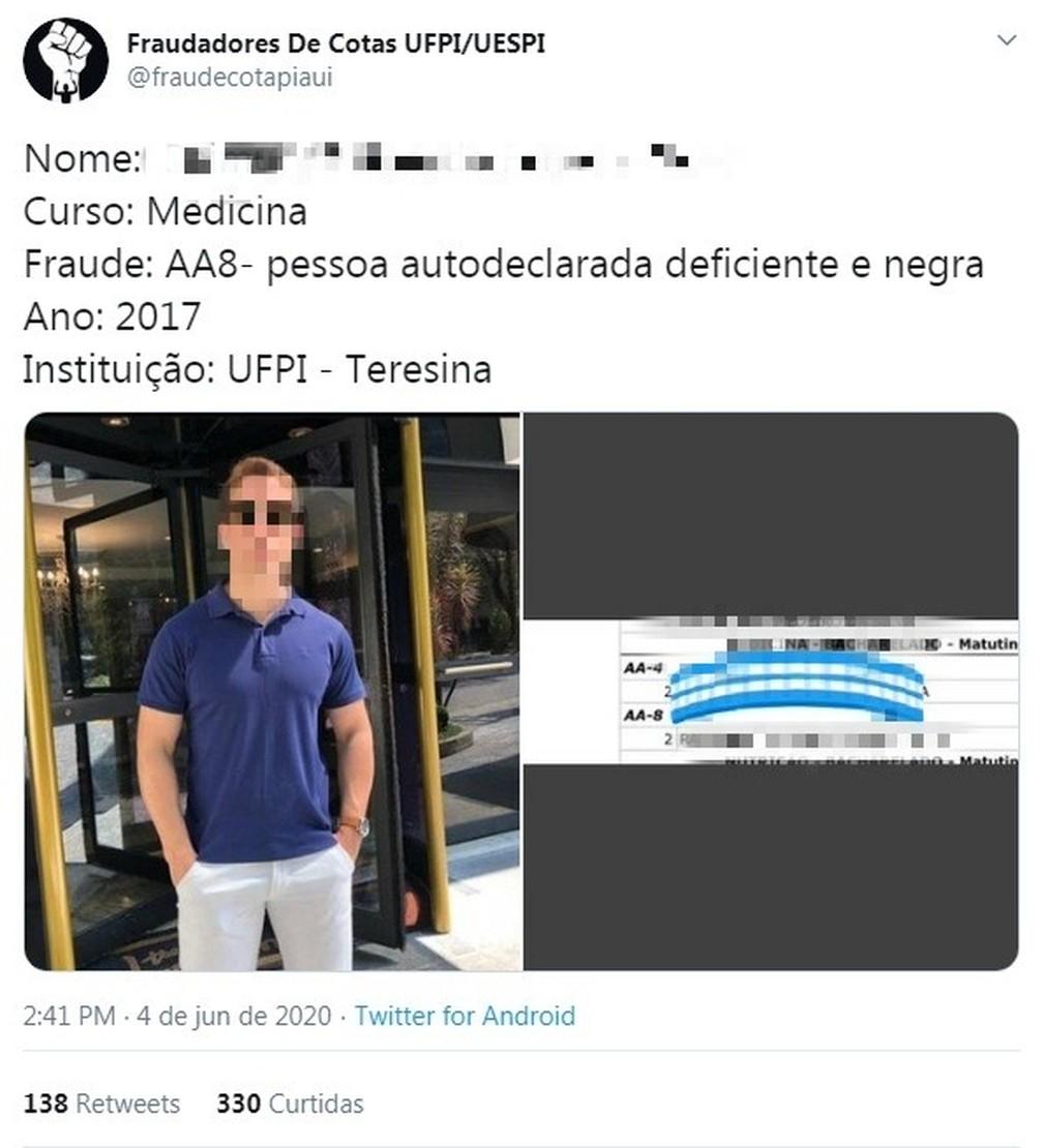 UFPI investiga possíveis fraudes no sistema de cotas após denúncias em rede social — Foto: Reprodução/Twitter