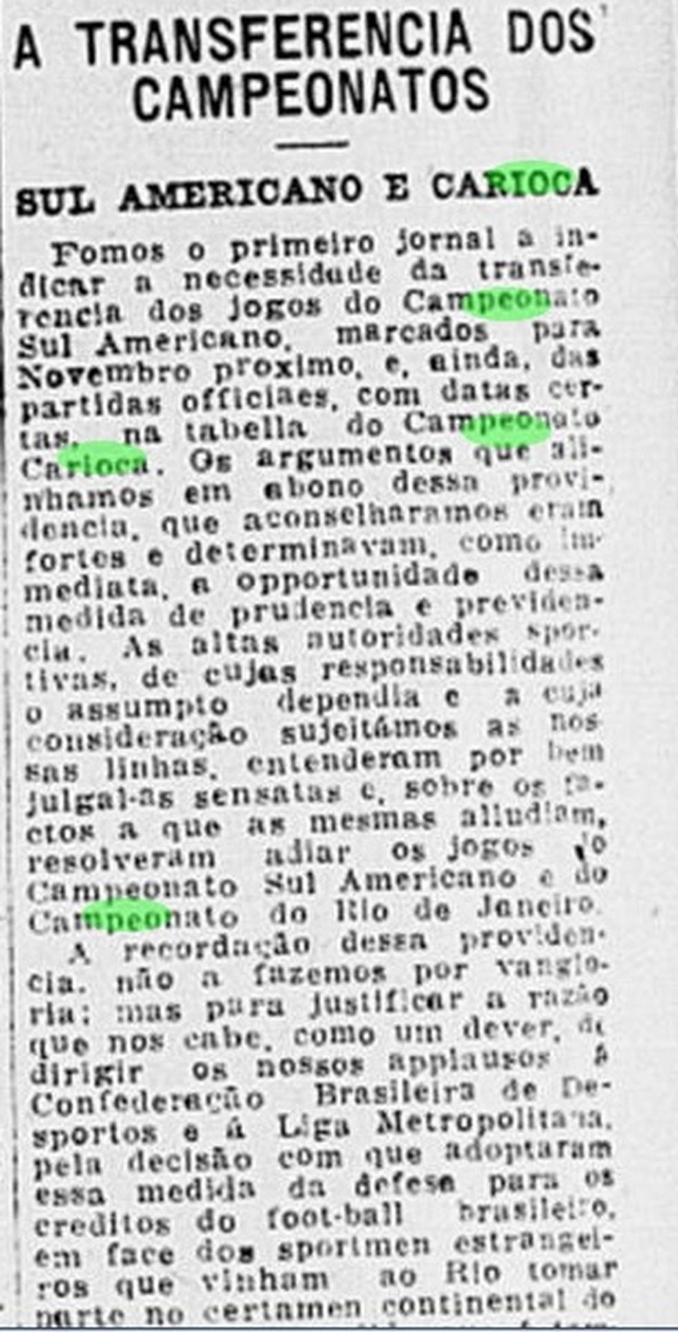 Copa América e Campeonato Carioca foram adiados por conta de pandemia em 1918 — Foto: Reprodução/Jornal do Brasil