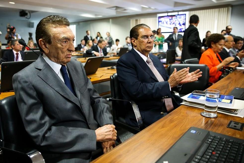 Os senadores Edison Lobão e Jader Barbalho, do MDB — Foto: Marcelo Camargo/Agência Brasil