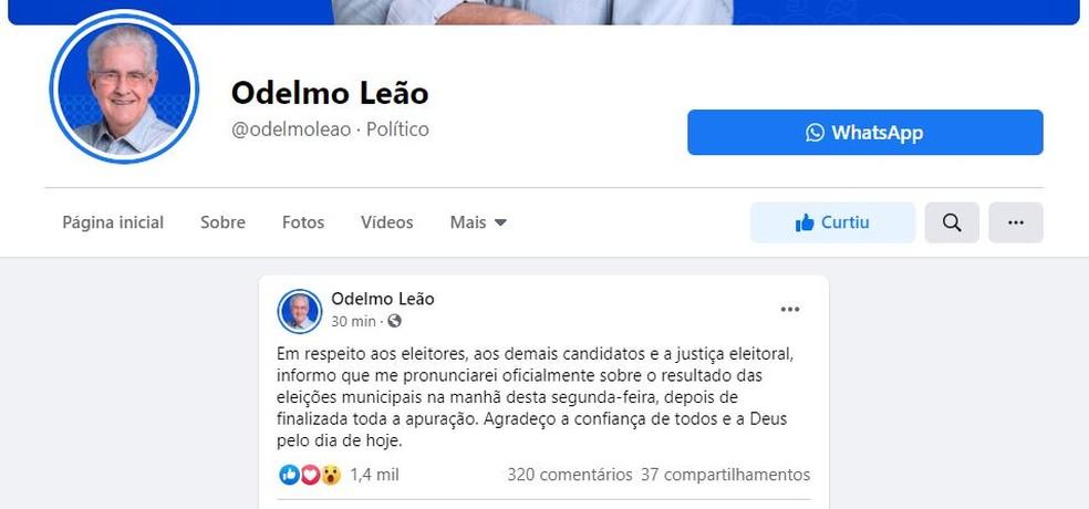 Odelmo Leão se posiciona sobre a apuração dos votos em Uberlândia — Foto: Reprodução/Redes Sociais