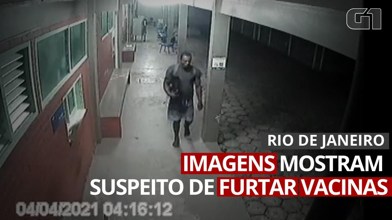 VÍDEO: Imagens mostram momento em que suspeito de furtar vacinas deixa posto de saúde no Rio