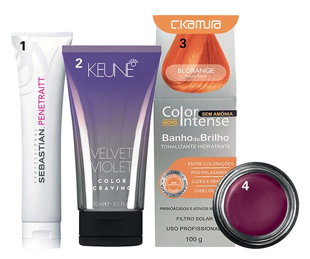1. Máscara Penetraitt, R$ 175, Sebastian; 2. Coloração Color Craving, R$ 115, Keune; 3. Color Intense Blorange, R$ 40, C.Kamura; 4. Pomada Super Brow, para preencher sobrancelhas coloridas, US$ 19,  Kat Von D à venda no e-commerce da marca (Foto: .)