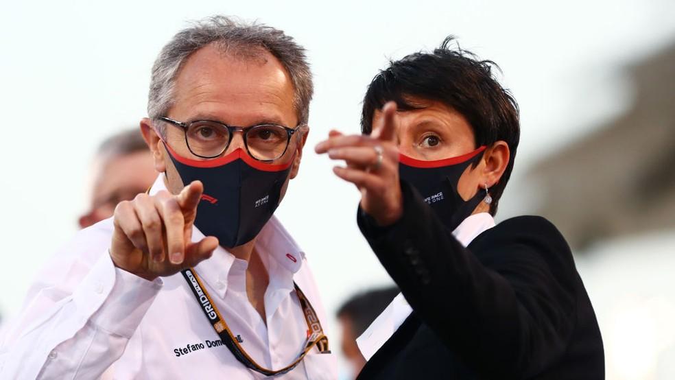 Stefano Domenicali, CEO da F1, no GP do Bahrein de 2021 — Foto: Dan Istitene - Formula 1 via Getty Images