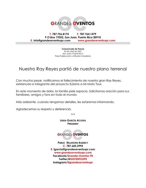 Ray Reyes, ex-menudo, morre aos 51 anos (Foto: Reprodução/Twitter)