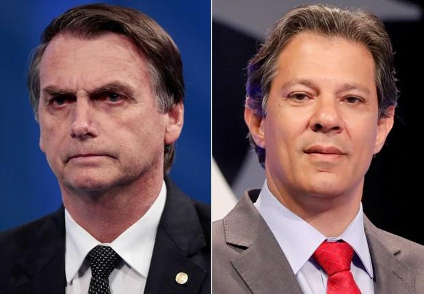 Montam com os candidatos à Presidência Jair Bolsonaro (PSL) e Fernando Haddad (PT) (Foto: Reuters/Paulo Whitaker/Nacho Doce)