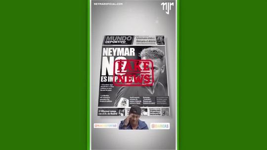 """Por meio das redes sociais, Neymar nega retorno ao Barcelona: """"Fake News"""""""