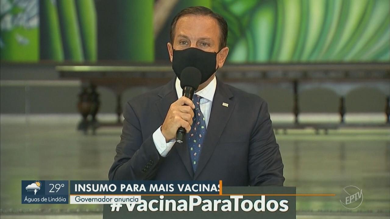 Governador de SP anuncia chegada de insumos para a produção de doses da CoronaVac