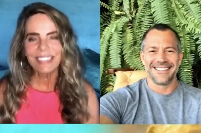 Bruna Lombardi e Malvino Salvador em live (Foto: Reprodução)