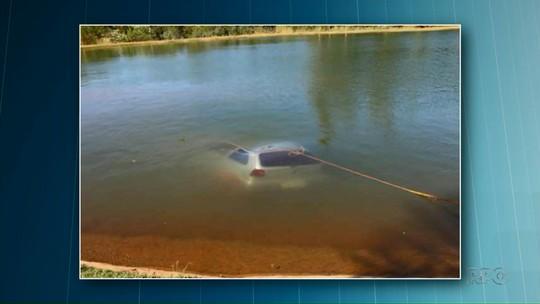 Carro desgovernado cai em lago em Nova Santa Rosa