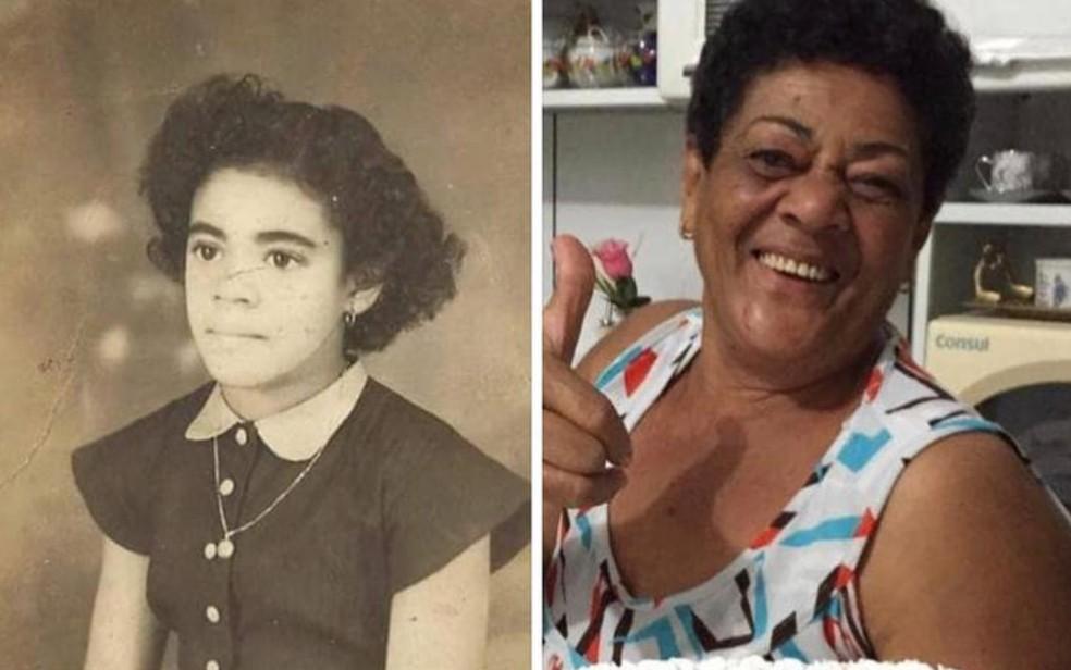 Sebastiana Lurdes de Oliveira reencontrou irmãos após post em rede social — Foto: Reprodução/TV Anhanguera
