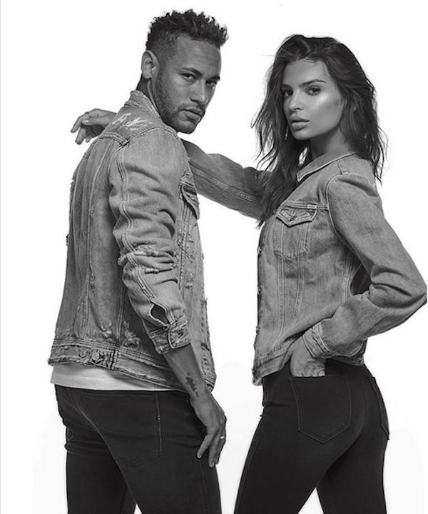 A modelo Emily Ratajkowski em companhia do jogador Neymar  (Foto: Instagram)