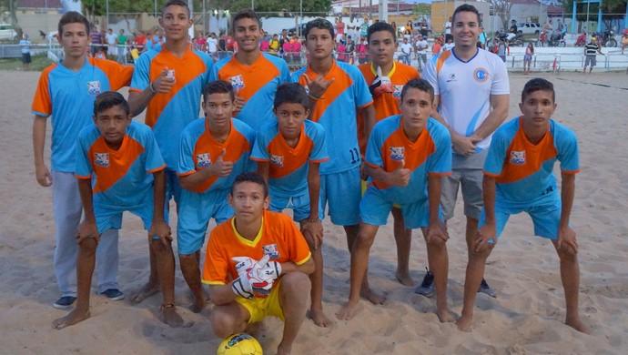 Galinhos, Escola Professor Freitas, beach soccer Jerns (Foto: Augusto Gomes/GloboEsporte.com)