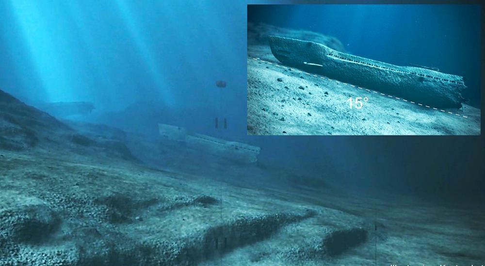 Ilustração mostra submarino no fundo do mar norueguês (Foto: Reprodução/Norwegian Coastal Administration)
