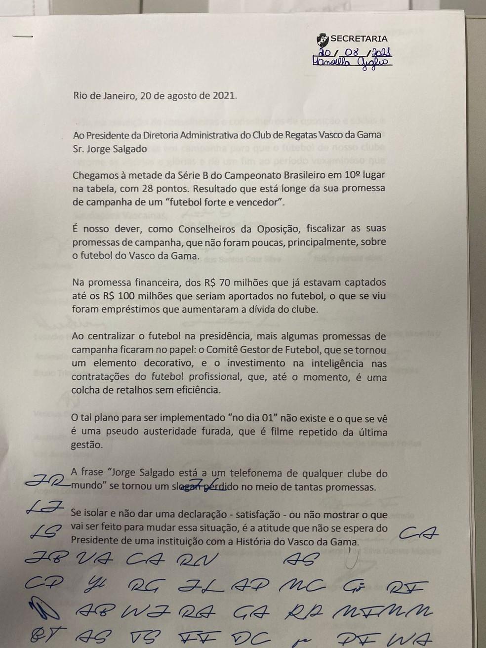 Carta Vasco — Foto: Reprodução