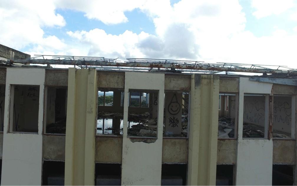 Último andar do hotel Torre Palace, em imagem feita por drone no DF (Foto: Corpo de Bombeiros/Divulgação)