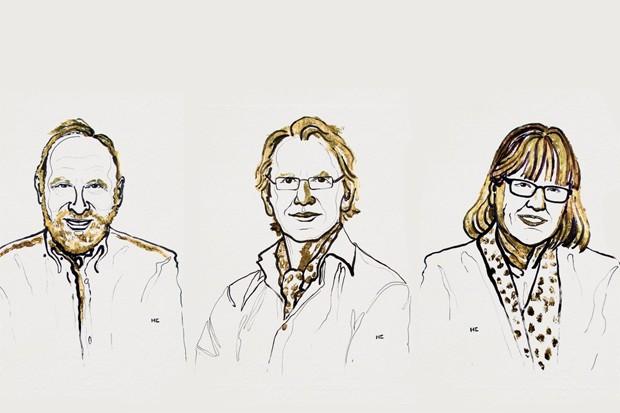 Ilustração dos vencedores do Nobel da Física Arthur Ashkin, Gérard Mourou e Donna Strickland  (Foto: Niklas Elmehed/Nobel Media)