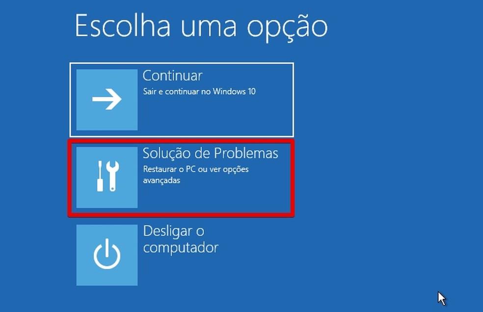 Abra a solução de problemas (Foto: Reprodução/Helito Bijora)