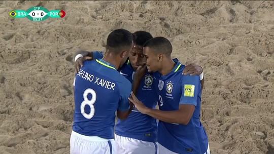 Os gols de Brasil 4 x 1 Portugal pelo Copa Intercontinental de futebol de areia