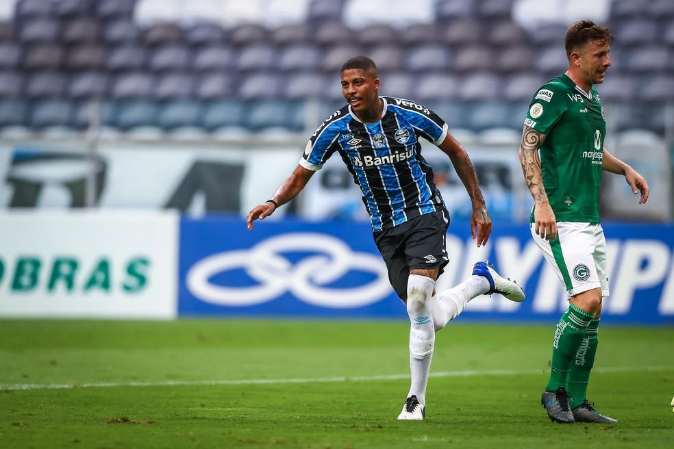 Jean Pyerre marcou na vitória sobre o Goiás — Foto: Lucas Uebel / Grêmio FBPA
