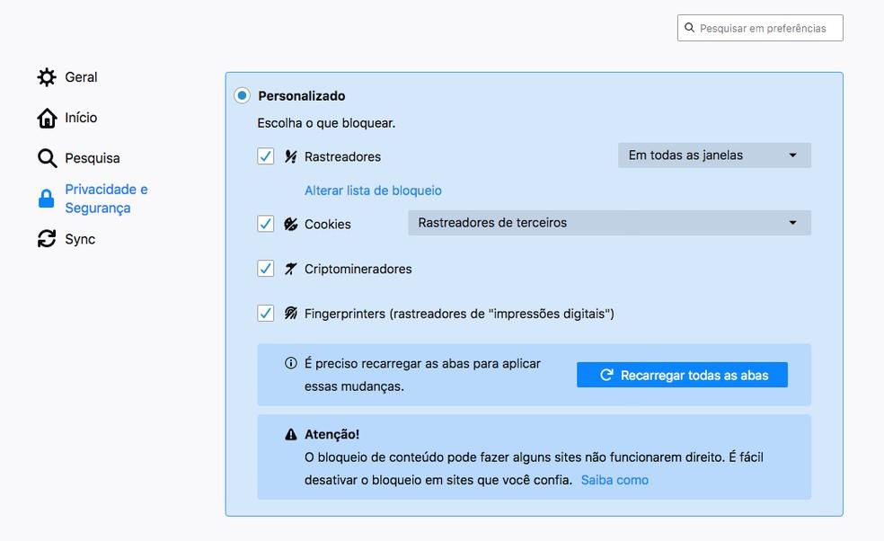 Navegador Firefox traz novidades em termos de privacidade. — Foto: Reprodução/G1