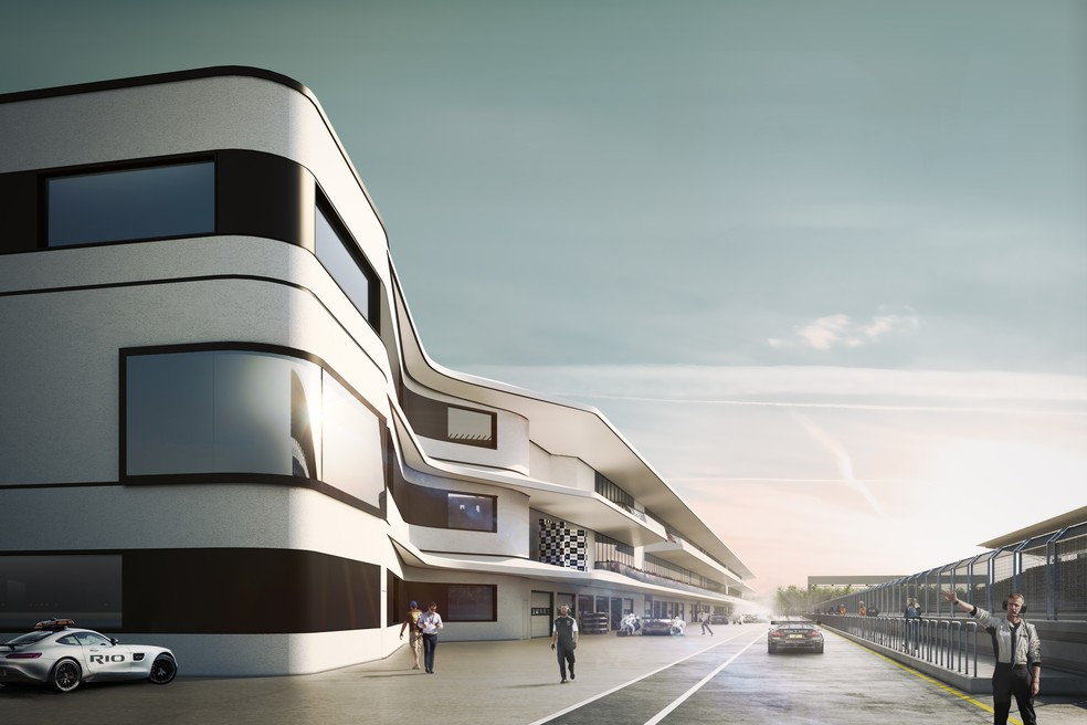 Área dos boxes no projeto do novo autódromo do Rio — Foto: Divulgação