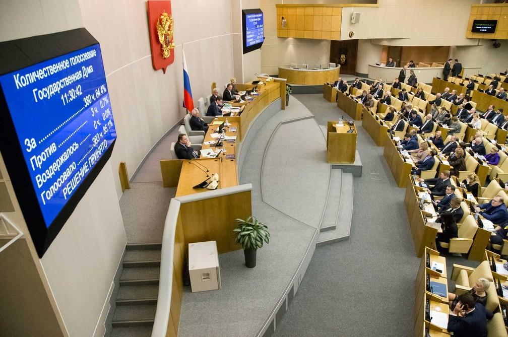 Câmara Baixa do Parlamento russo (Duma) aprovou projeto que descriminaliza violência doméstica nesta sexta-feira (27)  (Foto: Alexander Zemlianichenko/ AP)