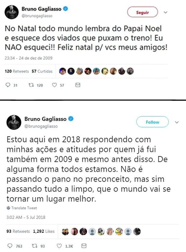 Acima, o post de 2009 de Bruno Gagliasso e, abaixo, sua resposta em 2018 (Foto: Reprodução/Twitter)