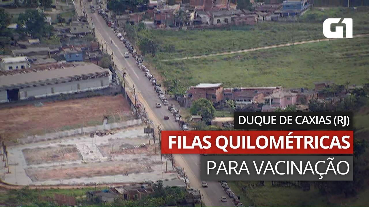 VÍDEO: Imagens mostram filas quilométricas em Duque de Caxias para vacinação contra Covid-19