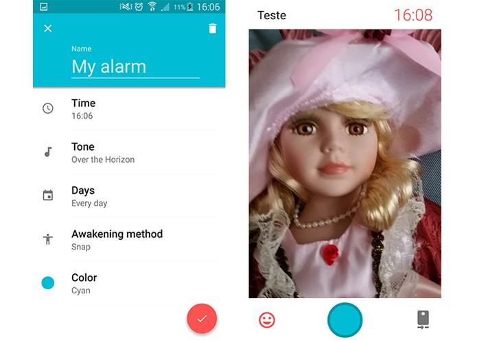 Alarme pede para registrar um selfie antes de encerrar som (Foto: Reprodução/Barbara Mannara)