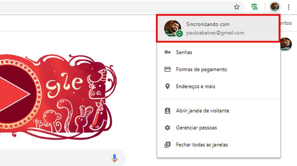 Extensão só funciona com conta do Google logada — Foto: Reprodução/Paulo Alves