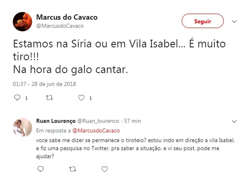 Morador relata intenso tiroteio em Vila Isabel (Foto: Reprodução / Redes Sociais)