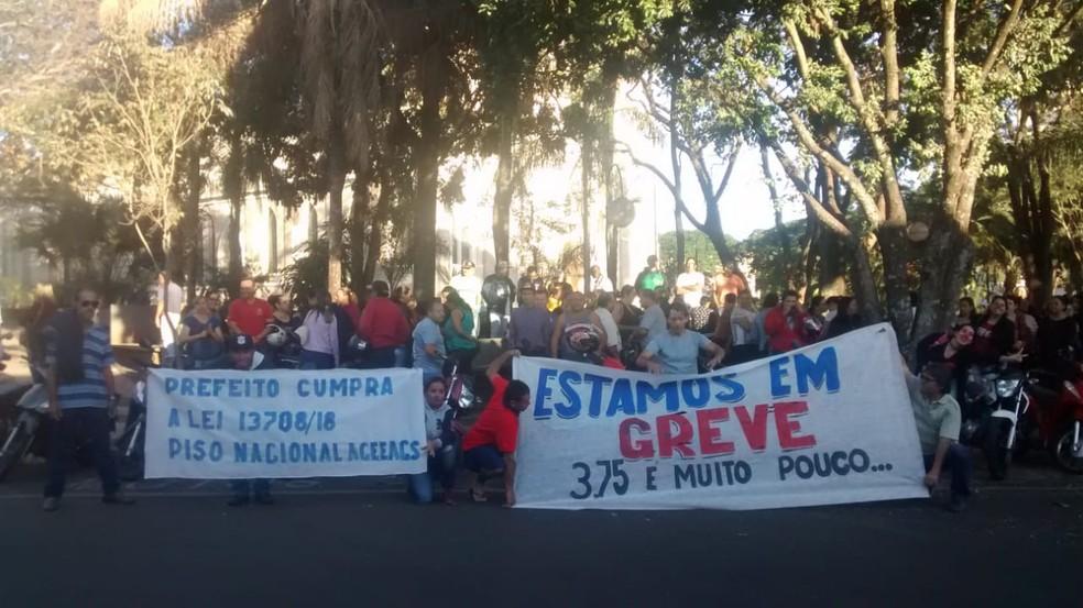 Segundo o sindicato, cerca de 250 servidores aderiram à mobilização — Foto: Arquivo Pessoal / Karine Francisco
