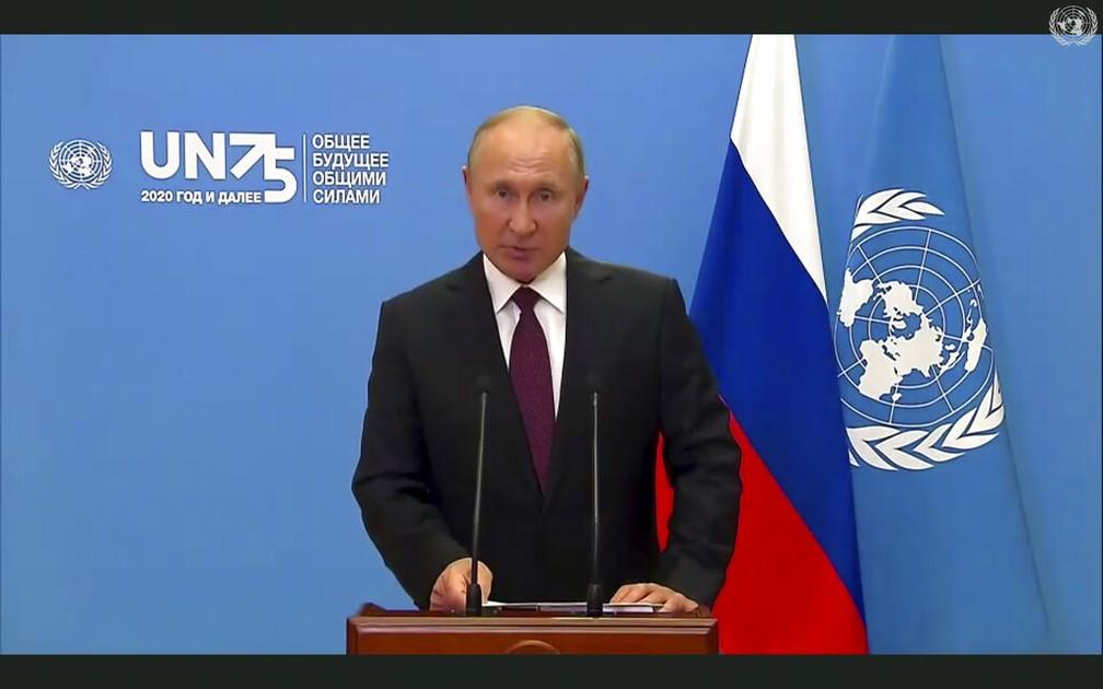 Vladimir Putin, presidente dos EUA, durante discurso gravado para a Assembleia Geral da ONU nesta terça (22) — Foto: UNTV via AP