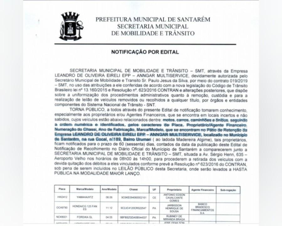 Em Santarém, donos de veículos apreendidos têm 60 dias para quitar débitos e escapar de leilão