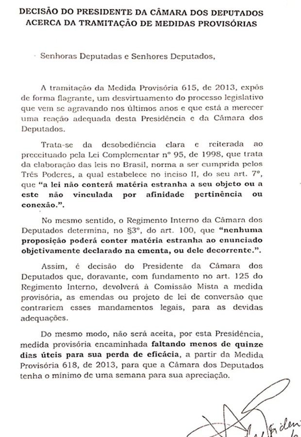 Íntegra da decisão de Henrique Alves para recusar medidas provisórias com mais de um tema (Foto: Reprodução)
