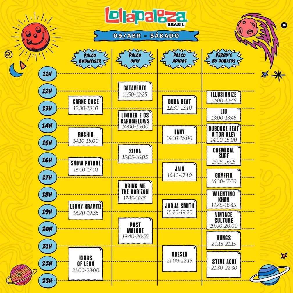Programação do segundo dia do Lollapalooza 2019 — Foto: Divulgação