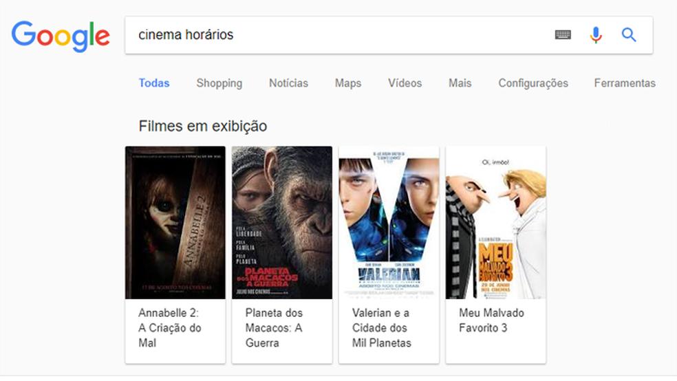 Google mostra horário de filmes em cinemas próximos (Foto: Reprodução/Google)