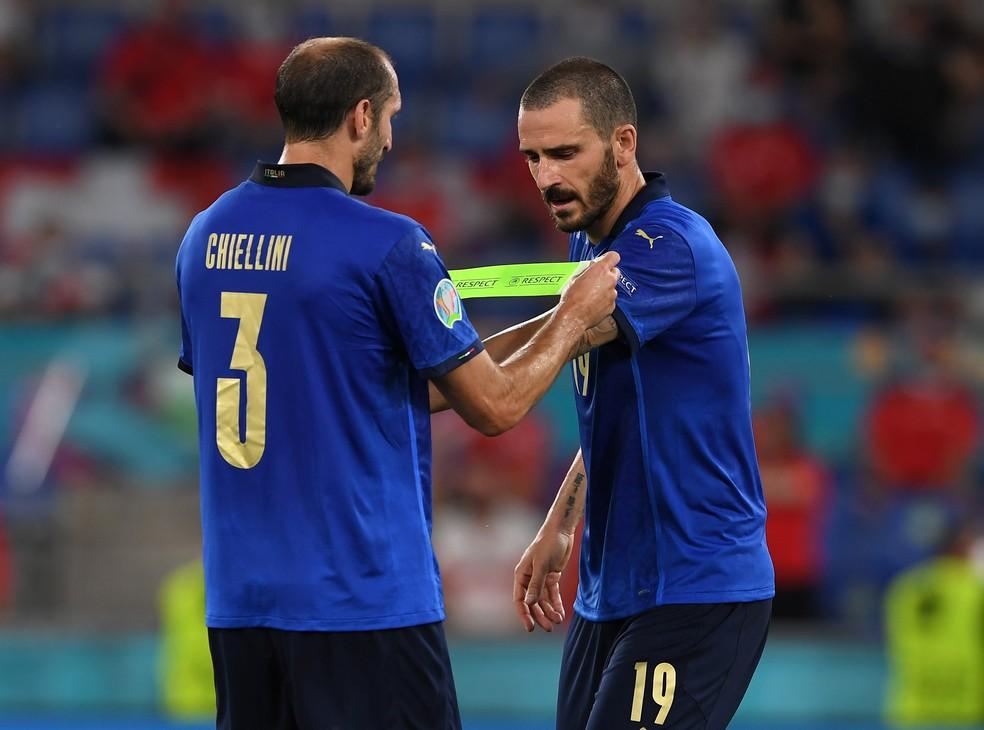 Chiellini é o capitão da Itália, mas, na sua ausência, o posto é de Bonucci — Foto: Getty Images