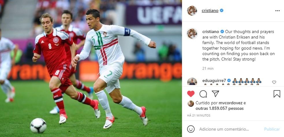 Cristiano Ronaldo também enviou mensagem de força ao meia dinamarquês — Foto: Reprodução/Instagram